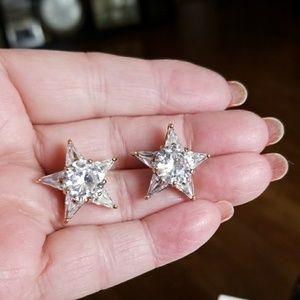 HUGE CZ STAR & Sterling Silver earrings